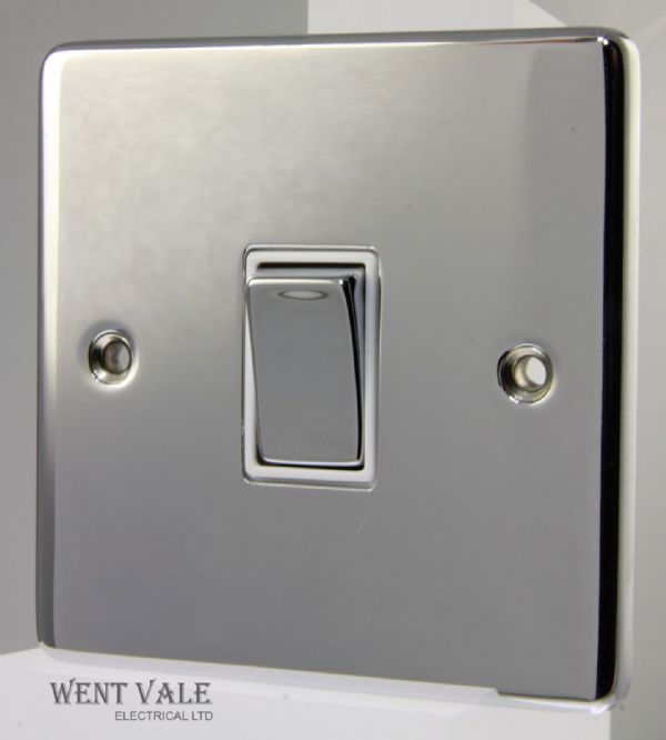 Heritage Brass Gala Elite Range - C22.800.PCW - 10ax 1 Gang 2 Way Plate Switch